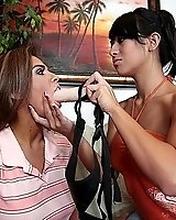Dead beat hottie gets a Strapon cock stuffed in her mouth
